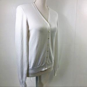 346 Brooks Brothers White Cotton Cardigan. S